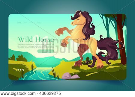 Wild Horse In Forest Landscape Cartoon Landing Page. Beautiful Animal Rears Up At On The Bank Of Str