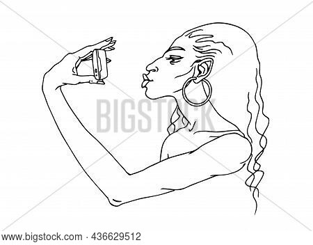 Cute Gypsy Girl With A Smartphone, Takes A Selfie, Sends An Air Kiss. Duck Lips. Vector Illustration