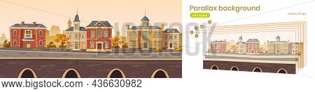 Parallax Background 2d Vintage City, Retro Autumn Cityscape Street With European Victorian Buildings