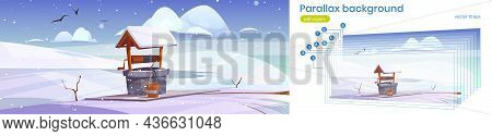 Parallax Background Winter 2d Landscape With Old Stone Well With Drinking Water On Snowy Hill. Winte