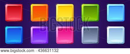 Set Of Game Ui App Icons, Square Buttons, Cartoon Menu Interface Colorful Blocks. Gui Graphic Design