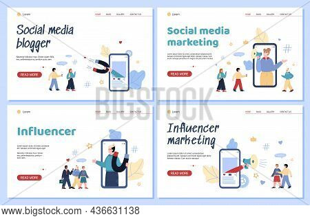 Set Of Apps For Advertising Online Promotion Of Business And Influence Marketing