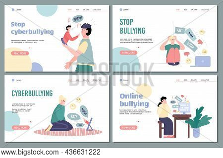 Set Of Web Pages With Call To Stop Cyberbullying And Abuse In Internet
