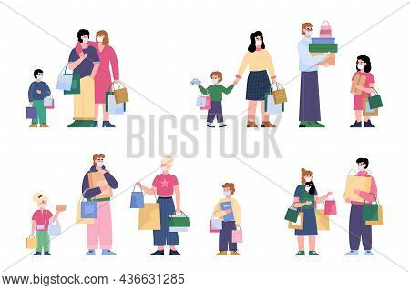Happy Family Shoppers Man And Woman With Children Hold Lot Shopping Bags.