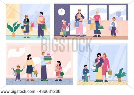 Family Shoppers Man, Woman And Children Hold Lot Shopping Bags And Gift Boxes.