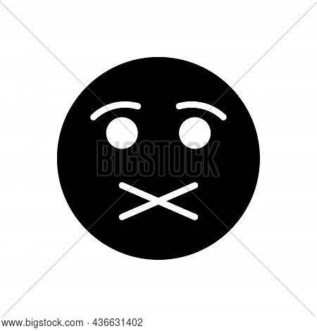 Black Solid Icon For Quiet Shush Calm Tranquil Silence Serene Silent Peaceful