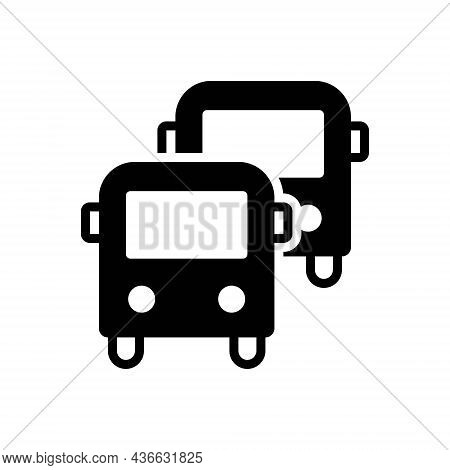 Black Solid Icon For Buses Transport Commercial Passenger Carriage Conveyance Travel
