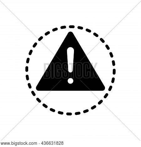 Black Solid Icon For Caution Warning Alert Carefulness Danger Sign Risk Hazard Prevent