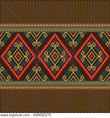 Yellow Green Ethnic Or Native Seamless Pattern On Brown Background In Symmetry Rhombus Geometric Boh