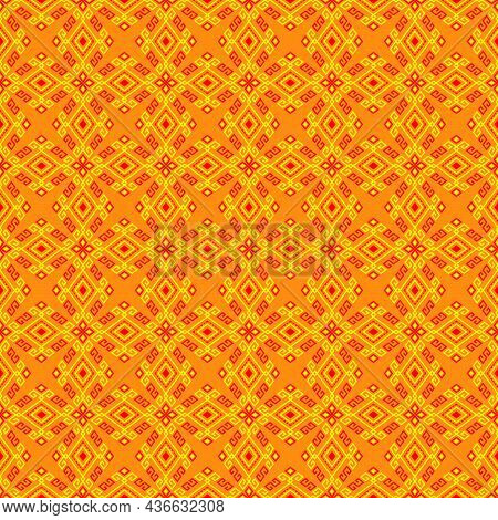 Yellow Red Tribal Or Native Seamless Pattern On Yellow Background In Symmetry Rhombus Geometric Bohe