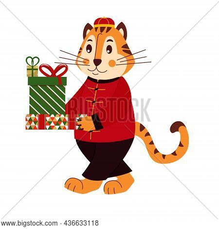 Cute Striped Tiger In Chinese Costume With Presents. For Congratulations, Cards, Posters. Cartoon Ve