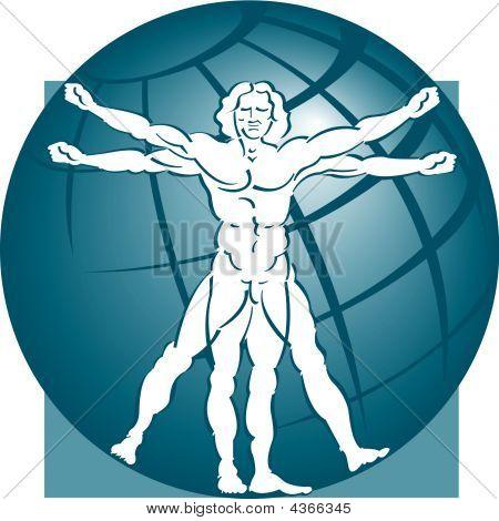 Vitruvian Man Globe