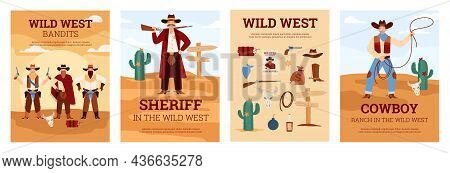 Wild West Banners Or Cards Set With Cowboy And Sheriff Flat Vector Illustration.