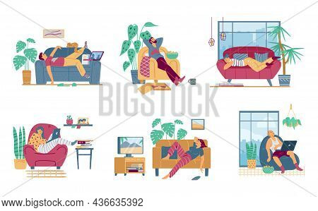 Set Of Men Spending Time At Home In Laziness, Flat Vector Illustration Isolated.