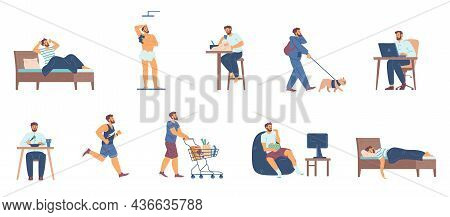 Daily Routine Man From Morning Waking To Night Sleep A Vector Illustrations