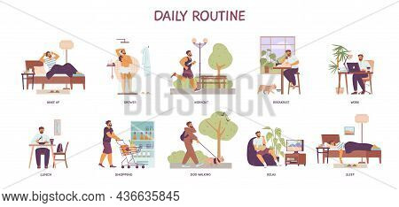 Morning To Night Daily Routine Of Man, Flat Vector Illustration Isolated.