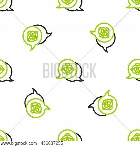 Line Grandmother Icon Isolated Seamless Pattern On White Background. Vector