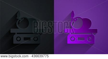 Paper Cut Electronic Scales For Product Icon Isolated On Black On Purple Background. Weight For Food
