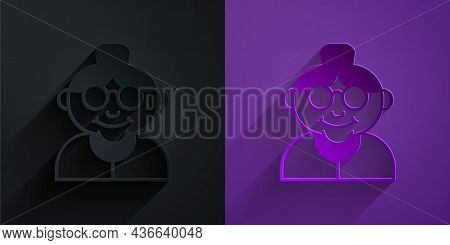 Paper Cut Grandmother Icon Isolated On Black On Purple Background. Paper Art Style. Vector