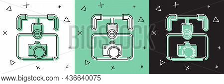 Set Gimbal Stabilizer With Dslr Camera Icon Isolated On White And Green, Black Background. Vector