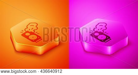 Isometric Stereo Speaker Icon Isolated On Orange And Pink Background. Sound System Speakers. Music I