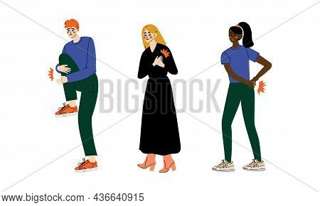 People Character Suffering From Pain In Back And Heart Vector Illustration Set
