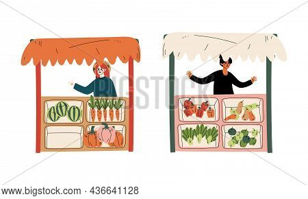Woman Character At Stall Selling Local Organic Food And Eco Products Vector Set