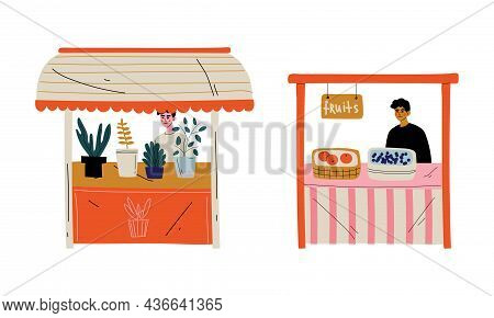 Man Character At Stall Selling Houseplant And Fruit At Marketplace Or Flea Market Vector Illustratio