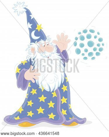 Old Good Wizard With A Big White Beard Saying Mysterious Spells And Doing Tricks With A Magic Ball,
