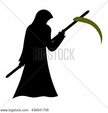 Grim Reaper. Silhouette. A Paranormal Entity In A Hooded Robe. Death Has Come To Take The Soul. Vect