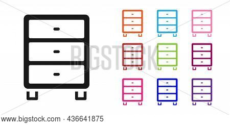 Black Archive Papers Drawer Icon Isolated On White Background. Drawer With Documents. File Cabinet D