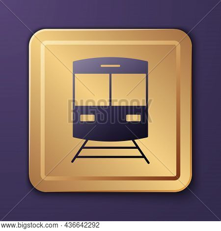 Purple Train And Railway Icon Isolated On Purple Background. Public Transportation Symbol. Subway Tr