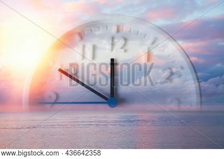 Beautiful Lilac Sky, Ocean And Close Up Of Clock. Double Exposure. Copy Space. Concept Of Daylight S