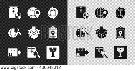 Set Envelope With Shield, Location On The Globe, Worldwide, Cardboard Box Traffic Symbol, Magnifying