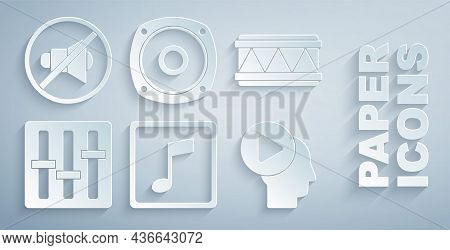 Set Music Note, Tone, Drum, Sound Mixer Controller, Head People With Play Button, Stereo Speaker And