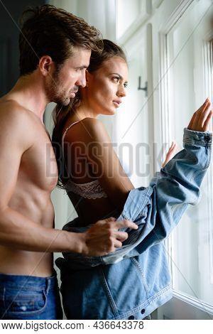 Passion Portrait Of Attractive Sexy Sensual Couple In Love