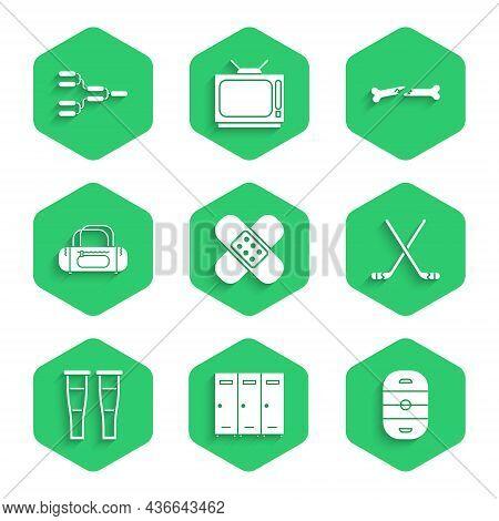 Set Crossed Bandage Plaster, Locker Or Changing Room, Ice Hockey Rink, Sticks, Crutch Crutches, Spor