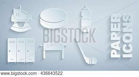 Set Hockey Table, Fitness Shaker, Locker Or Changing Room, Ice Hockey Stick, Puck And Skates Icon. V