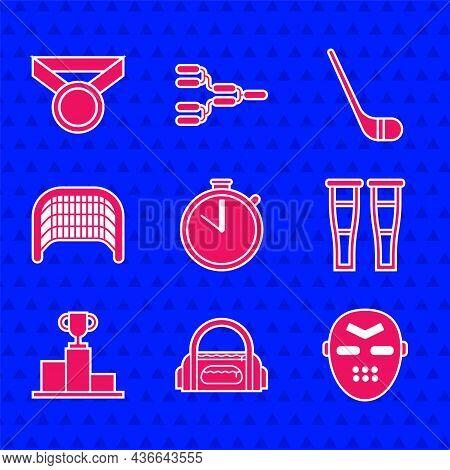 Set Stopwatch, Sport Bag, Hockey Mask, Crutch Crutches, Over Sports Winner Podium, Ice Hockey Goal,
