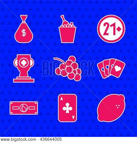 Set Casino Slot Machine With Grape, Playing Card Clubs, Lemon, Deck Of Playing Cards, Stacks Paper M