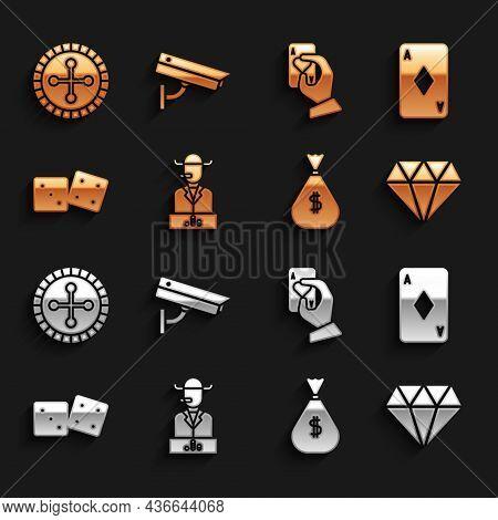 Set Poker Player, Playing Card With Diamonds, Diamond, Money Bag, Game Dice, Hand Holding Playing Ca