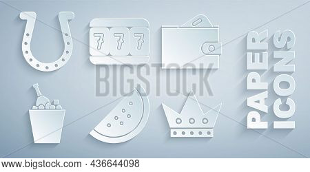 Set Casino Slot Machine With Watermelon, Wallet Money, Champagne An Ice Bucket, King Playing Card, S
