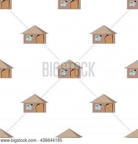 Old Destroyed House Pattern Seamless Background Texture Repeat Wallpaper Geometric Vector