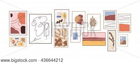 Contemporary Wall Art Composition With Framed Abstract Posters. Creative Trendy Artworks Layout For