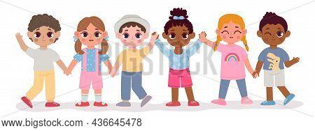 Cartoon Kindergarten Multicultural Kid Friends Hold Hands. Happy Children Diverse Group. Multiracial