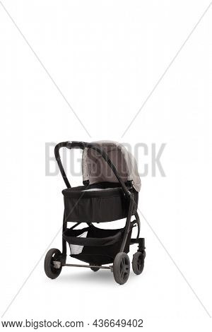 Studio shot of a black and gray baby carriage isolated on white background