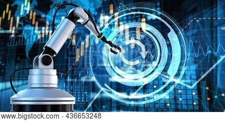 Update Software. Business Industrial Technology Concept. Cobot 3d Render