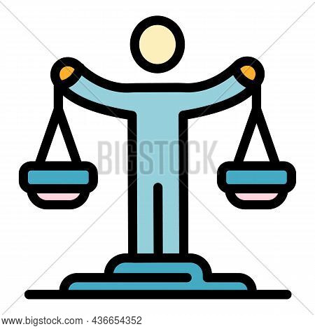 Justice Man Balance Icon. Outline Justice Man Balance Vector Icon Color Flat Isolated