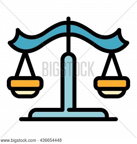 Justice Balance Icon. Outline Justice Balance Vector Icon Color Flat Isolated