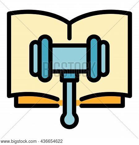 Legislation Hammer Icon. Outline Legislation Hammer Vector Icon Color Flat Isolated